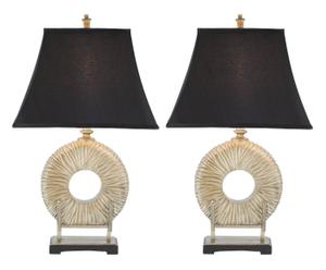 2 Lampes à poser polyrésine et coton, noir - H75