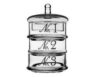 Bonbonnière triple verre, Transparent – H25