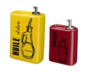 Distributeur d'huile et distributeur de vinaigre Céramique, Jaune et rouge