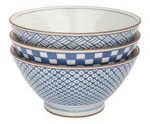 3 Bols CHI Porcelaine, Bleu et blanc - Ø18