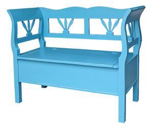 Banc coffre Pin, Bleu - L117