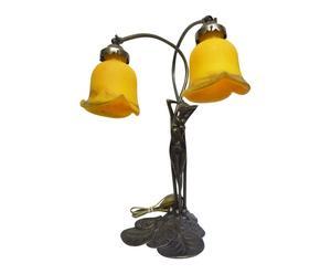 Lampe Elsa Laiton et verre, jaune et doré - H42