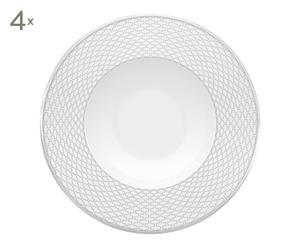 4 Assiettes à pâtes porcelaine et platine, Blanc et argenté - Ø28