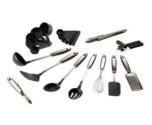 21 ustensiles de cuisine Inox, Noir et gris - L36