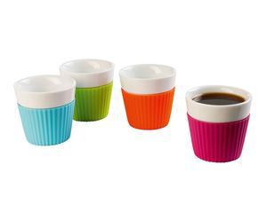 4 Gobelets expresso design Céramique, Multicolore - Ø7