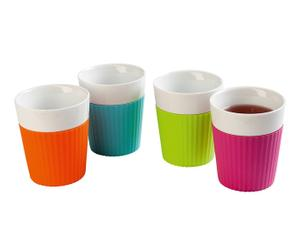 4 Mugs design Céramique, Multicolore - L9