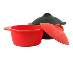 2 mini-cocottes silicone, Rouge et noir - Ø9
