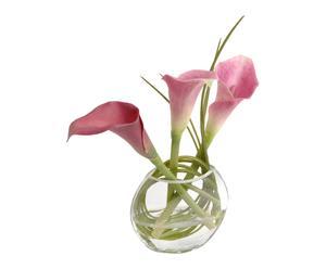 Composition de fleurs artificielles, rose et vert - H19