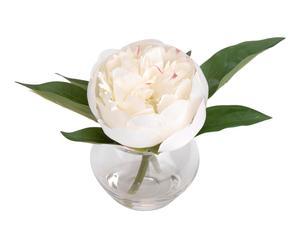 Pot de fleurs artificielles PIVOINES, blanc et vert - H10
