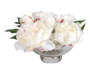 Pot de fleurs artificielles PIVOINES, blanc et rose - H22