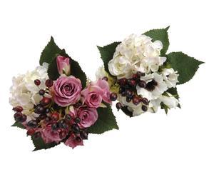 2 Bouquets fleurs artificielles, multicolore - H33