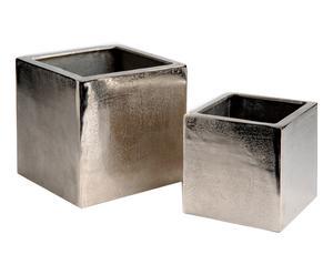2 Cache-pots, aluminium - argenté