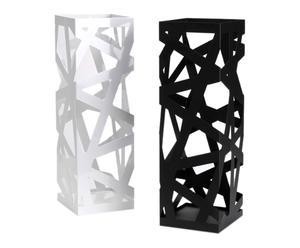 2 Porte parapluies métal, noir et blanc - H49