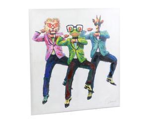 Toile peinture acrylique, cadre en bois, multicolore - 3*110