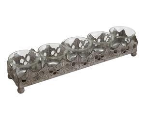 Centre de table métal et verre, gris et transparent - H39