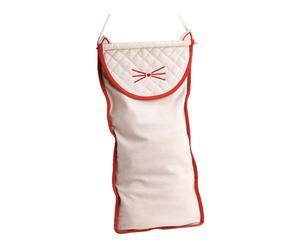 Sac à pain coton, blanc et rouge - 32*66