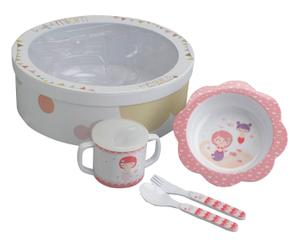 Coffret vaisselle pour enfant SIRENE, bois mélaminé - blanc et rose
