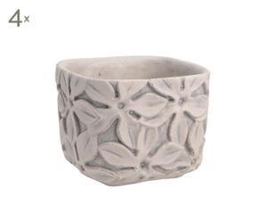 4 Cache-pots ciment, blanc - Ø13
