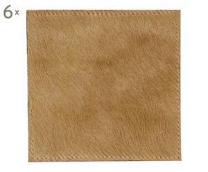 6 Dessous de verre peau, beige - L10