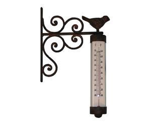 Thermomètre, fonte et verre - marron