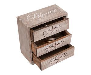 Mini commode range-bijoux bois, naturel - H19