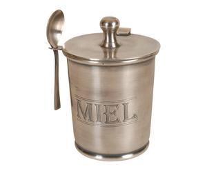 Pot à miel laiton et verre, argenté - H11