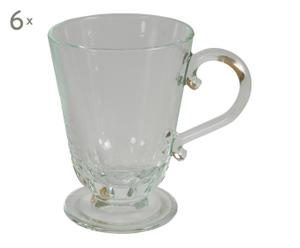 6 Mugs verre, transparent - H11