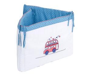 Tour de lit LONDON BUS, bleu et blanc - 45*190