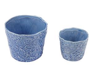 2 Mini cache-pots MADURA terre cuite, bleu - Ø16
