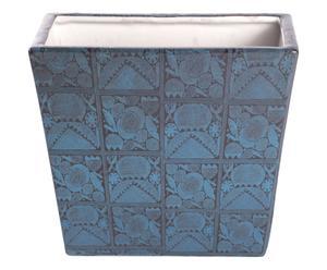 Cache-pot porcelaine, bleu foncé et blanc - Ø10