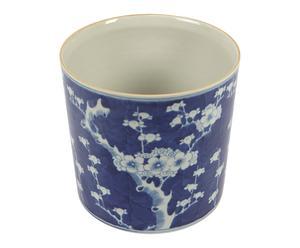 Cache-pot CERISIER porcelaine, bleu et blanc - H22