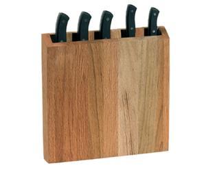 Bloc à couteaux et 5 couteaux bois de chêne, naturel - 5 emplacements