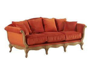 Canapé bois de chêne et velours de coton, orange - L228