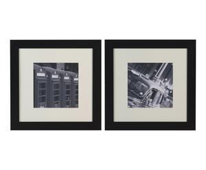 2 Affiches encadrées LONDON résine, noir et blanc - 61*61