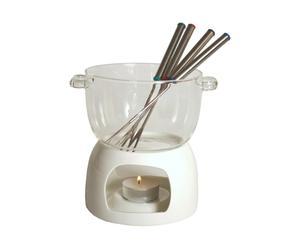 Service à fondue porcelaine, blanc et transparent - H21