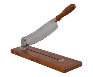 Trancheuse à pain, bois et métal - argenté et naturel