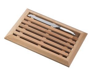 Planche à pain et couteau à pain, inox et bois - argenté