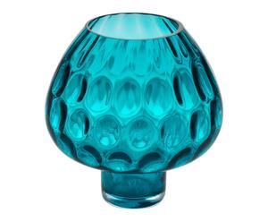Vase décoratif verre, bleu - H20
