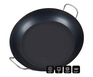 Poêle tôle d\'acier bleue, noir - Ø60