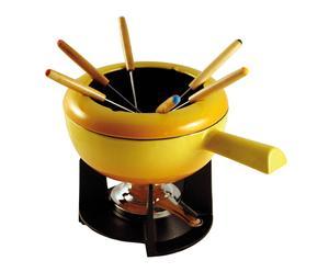 Service à fondue 6 personnes fonte émaillée, jaune et noir - Ø20