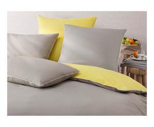 Housse de couette GOU percale de coton, taupe et jaune - 140*200