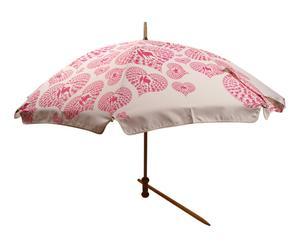 Parasol de plage KAB bois de hêtre, crème et rose - Ø160