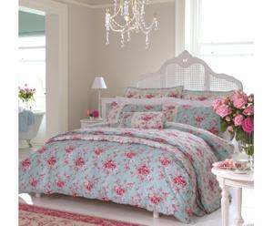 Housse de couette MIRABELLE coton, rose et gris - 240*260