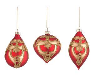 3 Boules de noël VICTOIRE - rouge et doré
