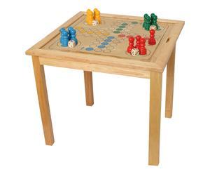 Table de jeu LUDO, bois d\'hévéa - naturel