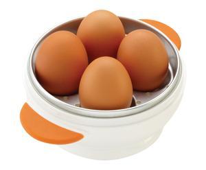 Cuit-oeufs aluminium, blanc et orange - Ø18