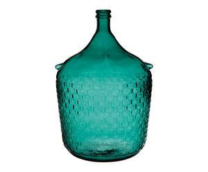 Vase COLONIAL verre, bleu pétrole - H54