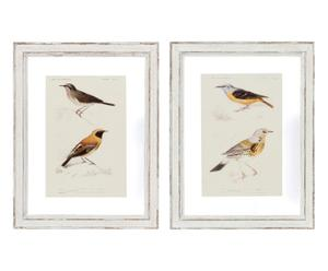 2 Affiches encadrées bois, beige et jaune - 36*46