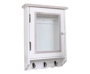 Armoire à clés bois de paulownia, blanc et naturel - H48