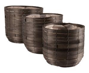 3 Cache-pots, bois de pin - noir et argenté